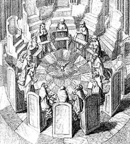 Riunione dei giudici della Sacra Rota in un'antica stampa