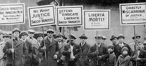 Manifestwazioni a favore di Saccoi e Vanzetti