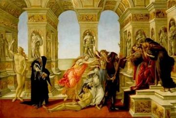 """Riproduzione della """"Calunnia di Apelle"""" di Sandro Botticelli, tavola 62x91, Firenze, Galleria degli Uffizi"""